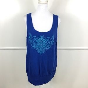 Lane Bryant Blue Embroidered Tank Top Womens 14/16